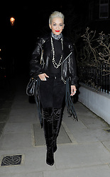 Singer Rita Ora wearing a leather bikers jacket, sheer top, black velvet trousers and knee high boots out in south west London, UK. 06/03/2015<br /> BYLINE MUST READ : STARS/GOTCHAIMAGES.COM<br /> <br /> Copyright by © Gotcha Images Ltd. All rights reserved.<br /> Usage of this image is conditional upon the acceptance <br /> of Gotcha Images Ltd, terms and conditions available at<br /> www.gotchaimages.com