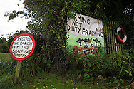 Anti-fracking signs in the village of Wharles, close to the proposed site at Roseacre Wood, Lancashire where fracking firm Cuadrilla has been given permission to undertake construction and testing for shale gas extraction. On 6th October, 2016 UK Government's Communities secretary, Sajid Javid, accepted an appeal from Cuadrilla against an earlier decision to turn down their plans to frack on sites on the Fylde coast.