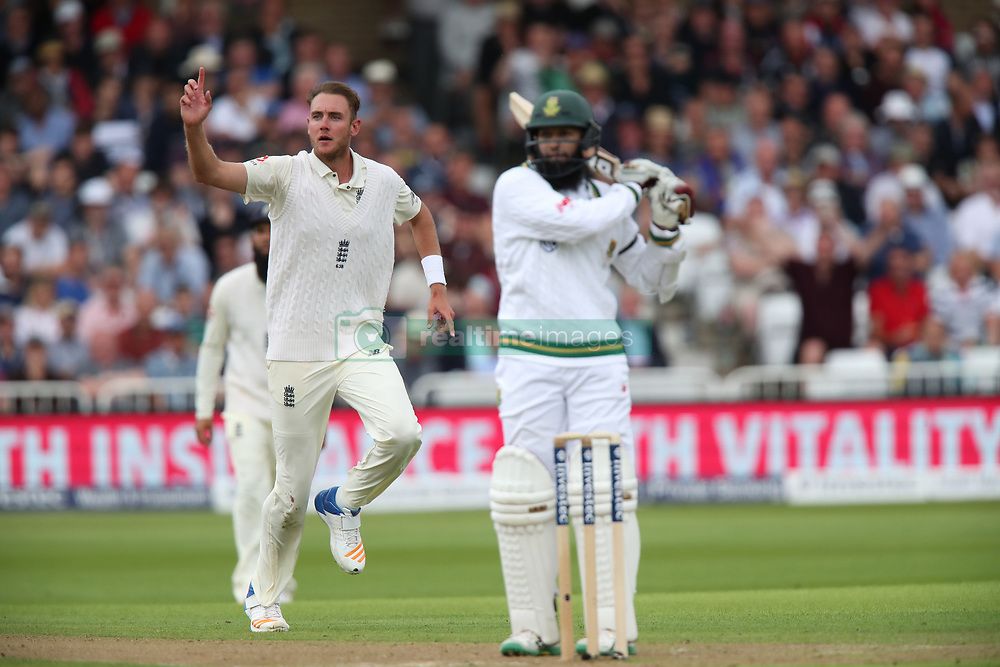 England's Stuart Broad celebrates dismissing South Africa's Hashim Amla during day one of the Second Investec Test match at Trent Bridge, Nottingham.