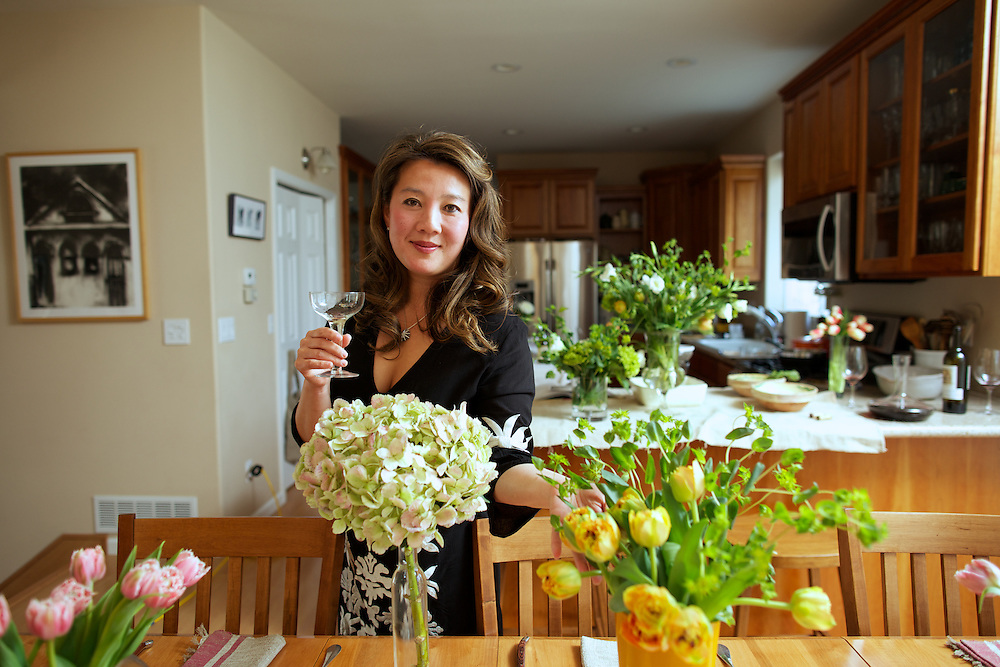Kim Sunée in her home kitchen in Anchorage, AK on April 28, 2014. <br /> <br /> CREDIT: Ash Adams for the Wall Street Journal. <br /> IMKSUNEE.OD