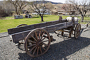 Old horse-drawn ranch wagon, James Cant Ranch Historic District, Sheep Rock Unit, John Day Fossil Beds National Monument, Oregon, USA. The double steel tires on the rear wheels show it was intended for hard use. The Cant Ranch interpretive site shows visitors an early 1900s livestock ranch. James Cant owned the ranch from 1910 to 1975, after which he sold to the National Park Service.