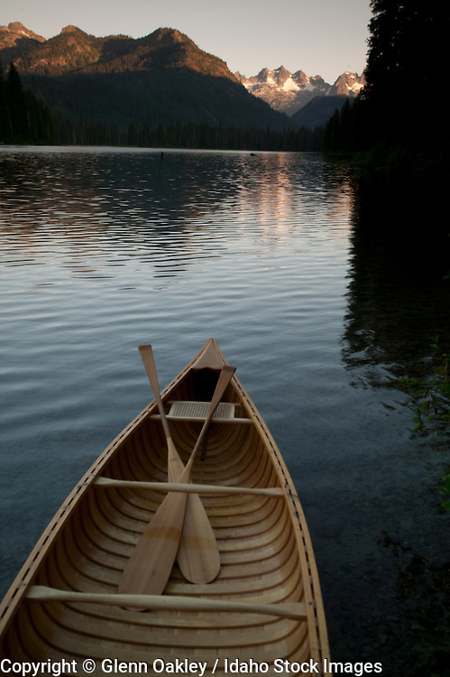 Idaho. Canoe on Redfish Lake in the Sawtooth Mountains.