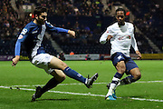 Preston North End Midfielder Daniel Johnson defends during the Sky Bet Championship match between Preston North End and Birmingham City at Deepdale, Preston, England on 15 December 2015. Photo by Pete Burns.