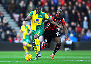Norwich City defender Sebastien Bassong and AFC Bournemouth forward Benik Afobe during the Barclays Premier League match between Bournemouth and Norwich City at the Goldsands Stadium, Bournemouth, England on 16 January 2016. Photo by Graham Hunt.