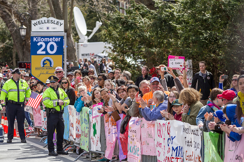 2014 Boston Marathon: spectators and students cheer at Wellesley College at mid point of race