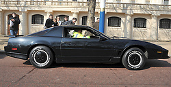 ©London News pictures. 08/03/11. KITT the famous car from the Knight Rider films and TV show is tried out by a police officer. Famous cars from TV and Film drive down the mall in London today (08/03/2011) as part of a publicity stunt for NetCars.com  Picture Credit should read Stephen Simpson/LNP
