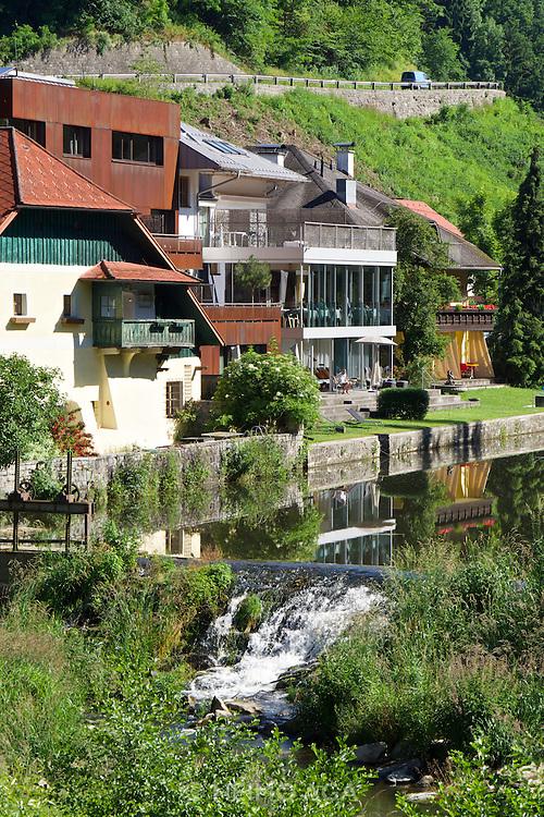 Neufelden, Austria. Genießerhotel Mühltalhof. Residents can take a swim in the artificial lake of Mühl river in front of the hotel.