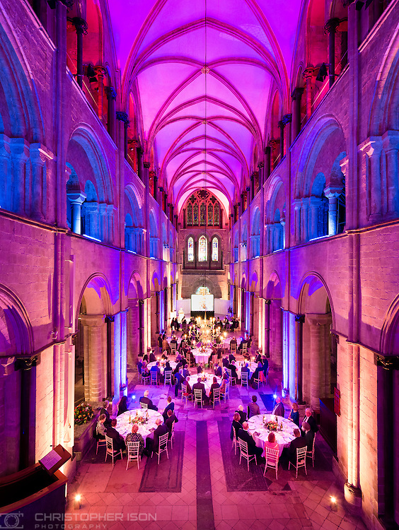 Chapter dinner in the nave of Chichester, Cathedral.<br /> Picture date: Wednesday November 23, 2016.<br /> Photograph by Christopher Ison &copy;<br /> 07544044177<br /> chris@christopherison.com<br /> www.christopherison.com