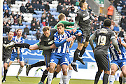 Wigan Athletic Forward, Yanic Wildschut in action again in the Bury box during the Sky Bet League 1 match between Wigan Athletic and Bury at the DW Stadium, Wigan, England on 27 February 2016. Photo by Mark Pollitt.