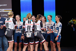 Cervélo Bigla congratulate the winners, Team Sunweb at UCI Road World Championships Women's Team Time Trial 2017 a 42.5 km team time trial in Bergen, Norway on September 17, 2017. (Photo by Sean Robinson/Velofocus)