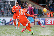 Shrewsbury Town midfielder Alex Rodman (23) shoots at goal during the EFL Sky Bet League 1 match between Scunthorpe United and Shrewsbury Town at Glanford Park, Scunthorpe, England on 17 March 2018. Picture by Mick Atkins.