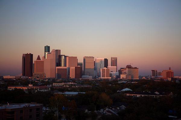 sunset shot of the Houston skyline at dusk