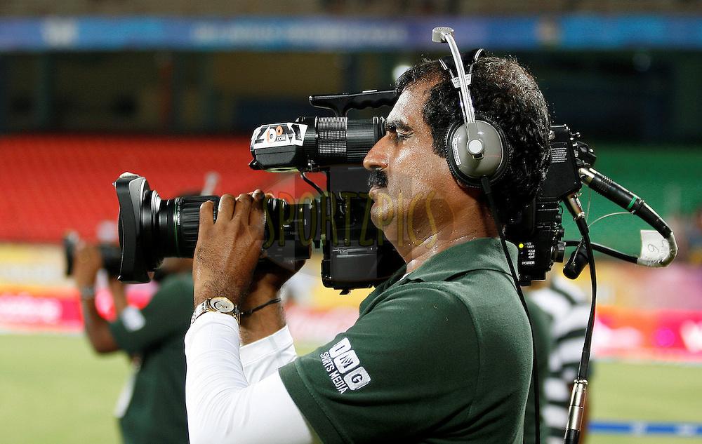 Shiva, TV camera man during match 32 of the Indian Premier League ( IPL ) Season 4 between the Kochi Tuskers Kerala and the Deccan Chargers held at the Kallor Jawaharlal Nehru International Stadium in Kochi, Kerala  India on the 27th April 2011..Photo by Vino John/BCCI/SPORTZPICS .