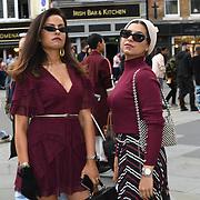 Geegesworld - Areej Shabaa , Eslam Gazelle - Eslamesaz attend Fashion Scout - SS19 - London Fashion Week - Day 2, London, UK. 15 September 2018.
