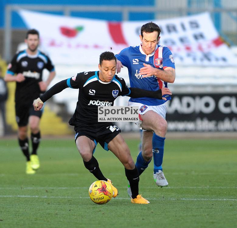 Kyle Bennett (Portsmouth, black &amp; blue) and Luke Joyce (Carlisle, blue) <br /> <br /> Carlisle United v Portsmouth, SKY BET LEAGUE 2, 21st November 2015<br /> <br /> (c) Alex Todd | SportPix.org.uk