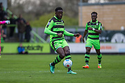 Forest Green Rovers Manny Monthe(3) on the ball during the Vanarama National League match between Forest Green Rovers and Chester FC at the New Lawn, Forest Green, United Kingdom on 14 April 2017. Photo by Shane Healey.