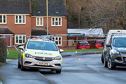 © Licensed to London News Pictures. 09/01/2020. Didcot, UK. Thames Valley Police maintain a cordon as they investigate an incident suspected to be a stabbing in the Mendip Heights estate in Didcot, a knife was recovered a short distance away. Photo credit: Peter Manning/LNP