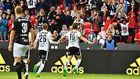 Fotball Menn Eliteserien Rosenborg - Sogndal<br /> Lerkendal Stadion, Trondheim<br /> 25 juni 2017<br /> <br /> <br /> Matthias Vilhjalmsson (H) har scoret 1-0 for Rosenborg og jubler mot publikum sammen med Milan Jevtovic (26)<br /> <br /> <br /> Foto : Arve Johnsen, Digitalsport