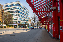 Sheffield on the first day emergency measures which were announced by Prime minister Boris Johnson on Monday evening (24th march) <br /> Barkers Pool looking towards Fargate<br /> 25 March 2020<br /> <br /> www.pauldaviddrabble.co.uk<br /> All Images Copyright Paul David Drabble - <br /> All rights Reserved - <br /> Moral Rights Asserted -