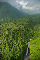 Gorge of the Rio Ole, emerging from the Gran Caldera Volcanica de Luba.  Bioko Island, Equatorial Guinea, West Africa.