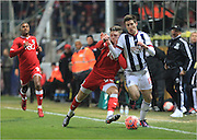 Wes Burns, Sebastien Pocognoli during the The FA Cup Third Round Replay match between Bristol City and West Bromwich Albion at Ashton Gate, Bristol, England on 19 January 2016. Photo by Daniel Youngs.