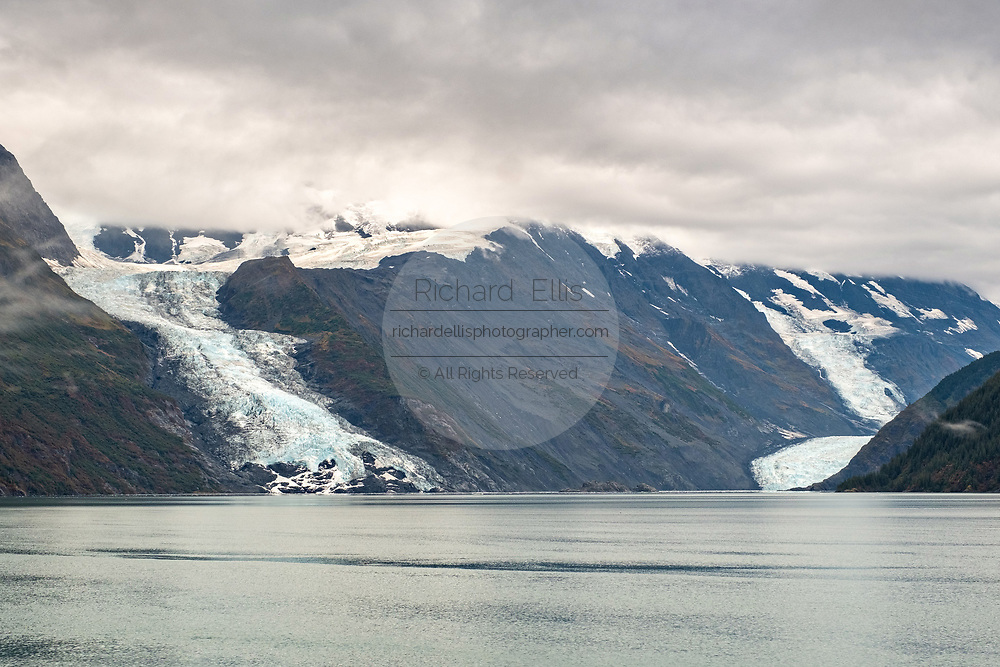 View of the Cascade, left, and Barry glaciers flowing into Barry Arm in Harriman Fjord, near Whittier, Alaska
