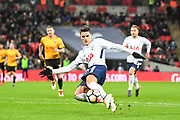 Tottenham Hotspur Midfielder Erik Lamela (11) takes a shot on goal during the The FA Cup 4th round replay match between Tottenham Hotspur and Newport County at Wembley Stadium, London, England on 7 February 2018. Picture by Stephen Wright.