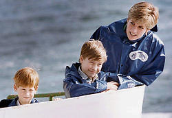 October 1, 1991 - Niagara Falls, on, Canada - Diana, Princess of Wales, enjoys a ride on the Maid of Mist in Niagara Falls, Ontario with her sons Prince Harry and Prince William, on Oct., 1991, photo. With the 20th anniversary of Princess Diana's death approaching Thursday, she has returned to our cultural imagination. THE CANADIAN PRESS/Hans Deryk (Credit Image: © Hans Deryk/The Canadian Press via ZUMA Press)