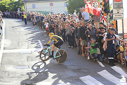 Koen Bouwman (NED) Team Jumbo-Visma rounds the hairpin to commence the San Luca climb during Stage 1 of the 2019 Giro d'Italia, an individual time trial running 8km from Bologna to the Sanctuary of San Luca, Bologna, Italy. 11th May 2019.<br /> Picture: Eoin Clarke | Cyclefile<br /> <br /> All photos usage must carry mandatory copyright credit (© Cyclefile | Eoin Clarke)