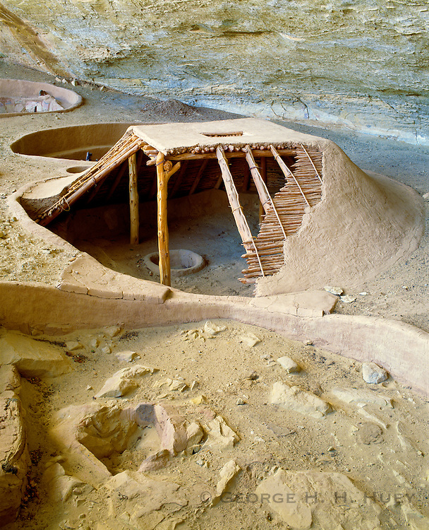 0405-1002D ~ Copyright: George H.H. Huey ~ Reconstructed Basketmaker pithouse.  Step House Ruin, Weatherill Mesa.  Mesa Verde National Park, Colorado