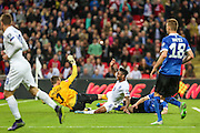 England's Raheem Sterling  scores the 2nd goal for his team during the UEFA European 2016 Qualifier match between England and Estonia at Wembley Stadium, London, England on 9 October 2015. Photo by Shane Healey.