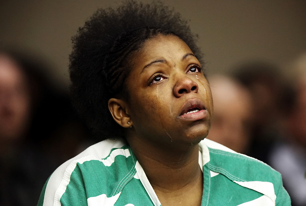 Kyle Green | The Roanoke Times<br /> 1/4/2012 Morgan Lockett cries while describing the day her son, Aveion Lewis was killed during a sentencing hearing in Roanoke Circuit Court in Roanoke, Virginia. Morgan Lockett was sentenced to 40 years in prison this afternoon for the death of her toddler son, Aveion Lewis.The sentence includes 30 years on the second-degree murder charge and 10 years on the child abuse charge. She could have faced a total of 50 years behind bars.
