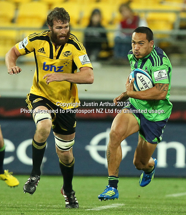 Highlanders' Hosea Gear in action during the 2012 Super Rugby season, Hurricanes v Highlanders at Westpac Stadium, Wellington, New Zealand on Saturday 17 March 2012. Photo: Justin Arthur / Photosport.co.nz