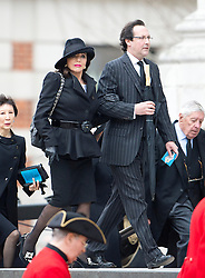 © London News Pictures.17/04/2013. London, UK.  Joan Collins arriving at St Paul's Cathedral in London for The Funeral of former British Prime Minister, Margaret Thatcher on April 17, 2013. Photo credit : Ben Cawthra/LNP