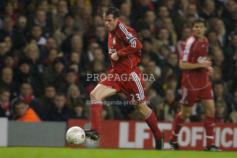 LIVERPOOL, ENGLAND - Tuesday, January 15, 2008: Liverpool's Jamie Carragher, making his 500th appearance, in action against Luton Town during the FA Cup 3rd Round Replay at Anfield. (Photo by David Rawcliffe/Propaganda)