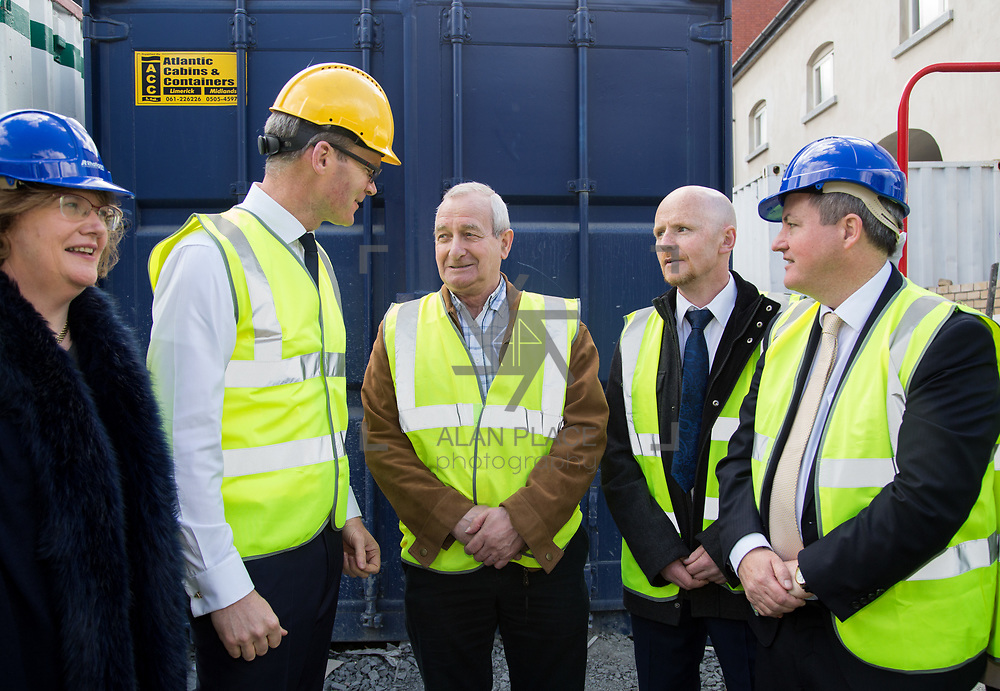 24.04.2017.       <br /> Minister for Housing Simon Coveney visiting the Lord Edward Street site in Limerick, where 81 units for social housing are nearing completion as part of the Limerick Regeneration programme.  57 of which are elderly units (1 and 2 bed apts and 2 bed houses) with the remainder (24) being family homes (3 bed). <br /> <br /> Pictured at the event were Senator Maria Byrne, Minister for Housing Simon Coveney, Fisherman Quay residents, Andy Mowat and Alan McCarthy with Senator Kieran O'Donnell. Picture: Alan Place.