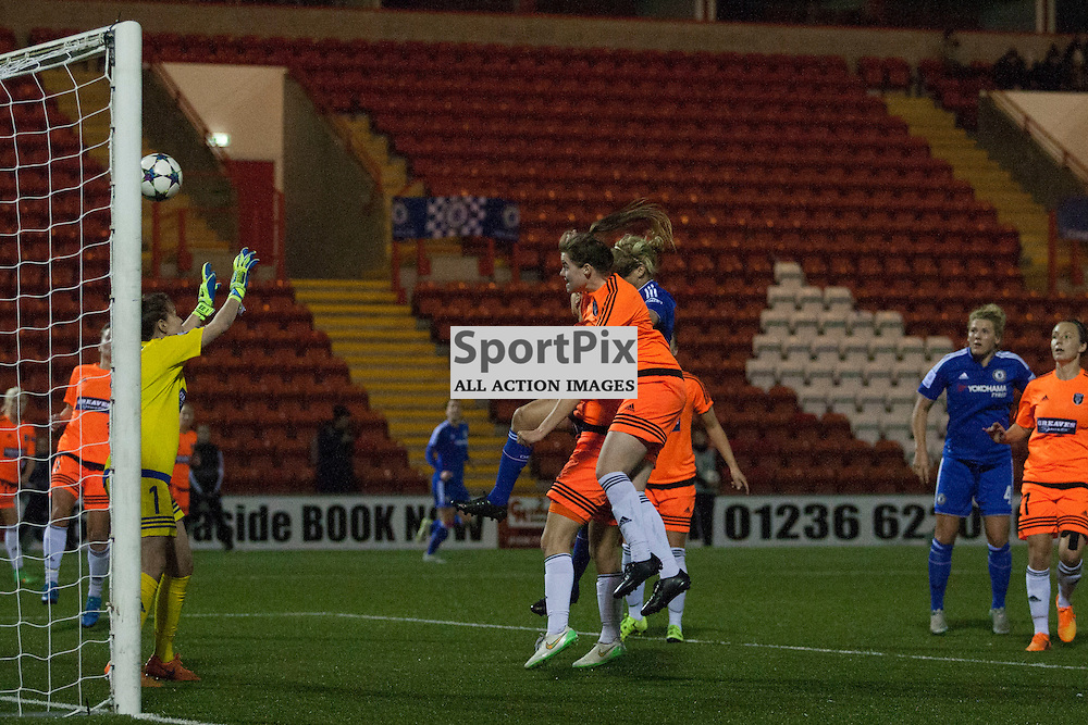 Gilly Flaherty scores to make it 3 to CLFC in the Glasgow City v Chelsea LFC Women's Champions League last-32 2nd Leg 14 October 2015<br /><br />(c) Russell G Sneddon / SportPix.org.uk
