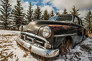 Antique Abandoned 1950s Black Car, Alberta Canada