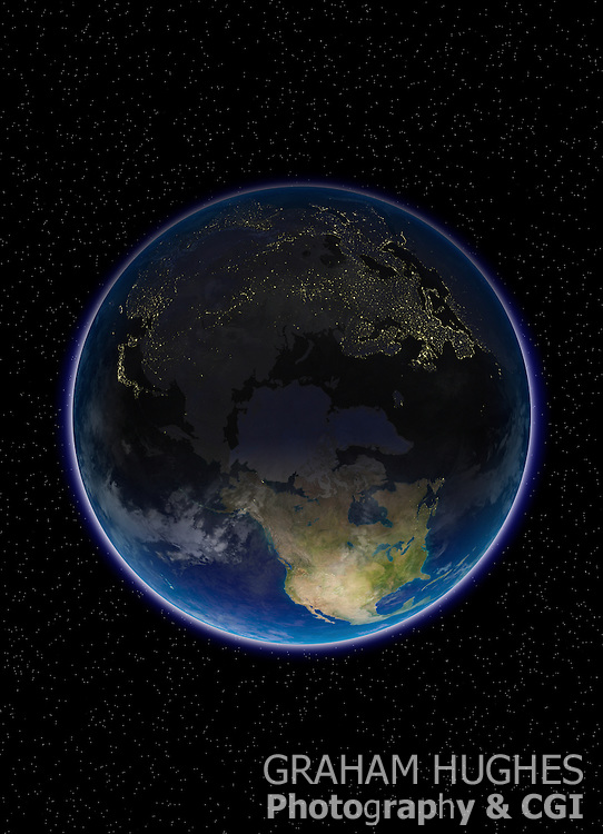 Planet Earth view of North Pole with city light visible in Europe Russian Federation and Asia