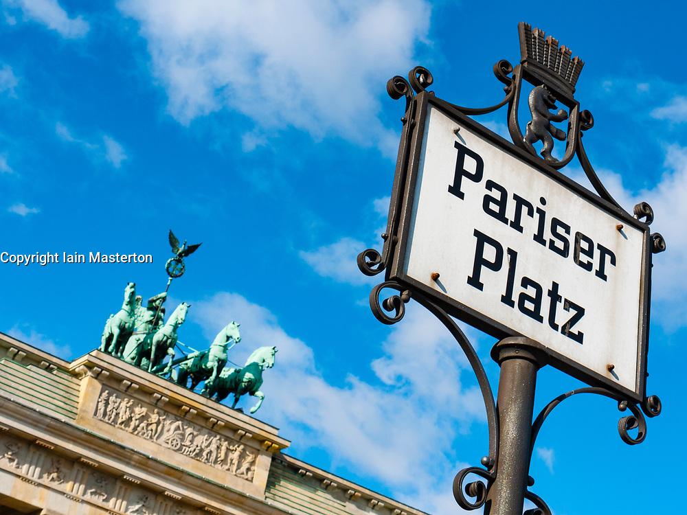 Brandenburg Gate at Pariser Platz in Berlin, Germany