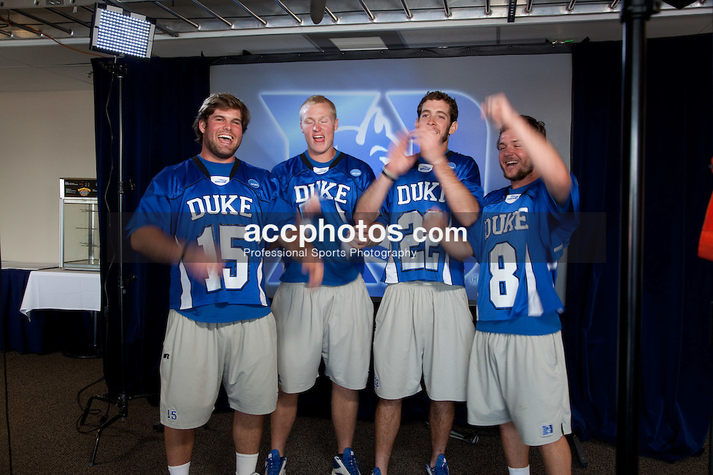 22 May 2009: Duke Blue Devils goalkeeper Rob Schroeder (15), defenseman Parker McKee (35), midfielder Ned Crotty (22) and attackman Max Quinzani (8) during an ESPN filming session after practice at Gillette Stadium in Boston, MA.