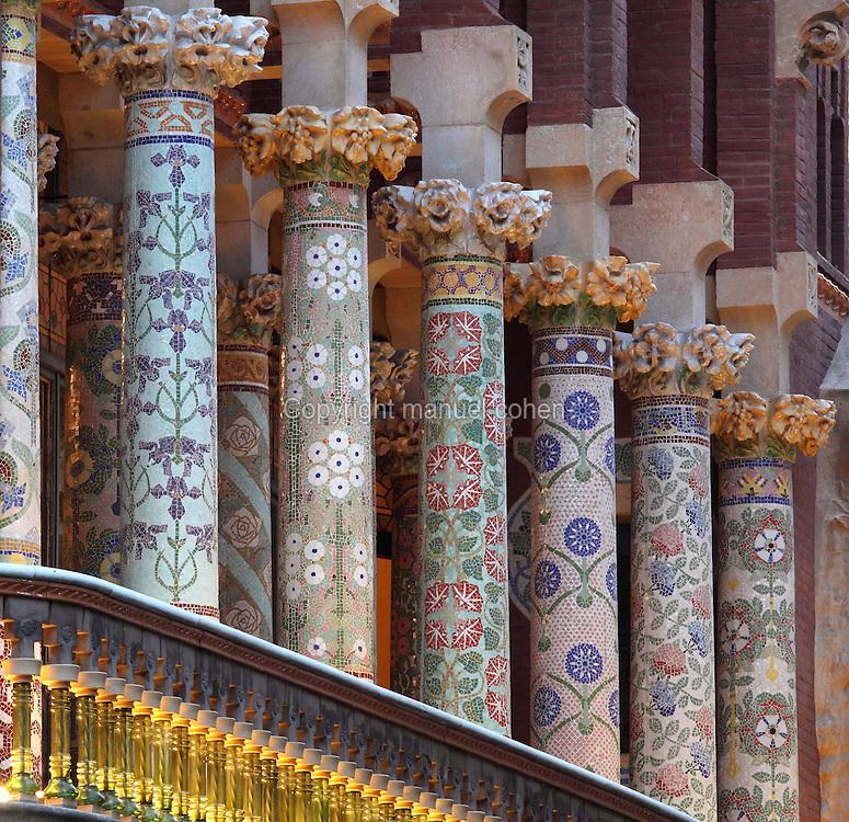 Multicolored glazed tile pieces of the colonnade on the second-level balcony, Palau de la Musica Catalana, 1908, Lluis Domenech i Montaner, Barcelona, Spain. Picture by Manuel Cohen
