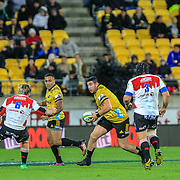 Jeffery Toomaga-Alleny with the ball during the Super rugby (Round 12) match played between Hurricanes  v Lions, at Westpac Stadium, Wellington, New Zealand, on 5 May 2018.  Hurricanes won 28-19.