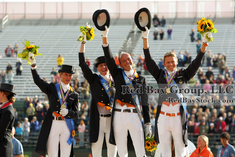 Dutch gold medal team members, Adelinde Cornelissen, Imke Schellekens-Bartels, Hans Peter Minderhoud and Edward Gal at the 2010 Alltech FEI World Equestrian Games, Lexington, Kentucky.