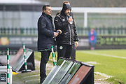 Forest Green Rovers manager, Mark Cooper and Forest Green Rovers assistant manager, Scott Lindsey during the EFL Sky Bet League 2 match between Forest Green Rovers and Crewe Alexandra at the New Lawn, Forest Green, United Kingdom on 18 November 2017. Photo by Shane Healey.