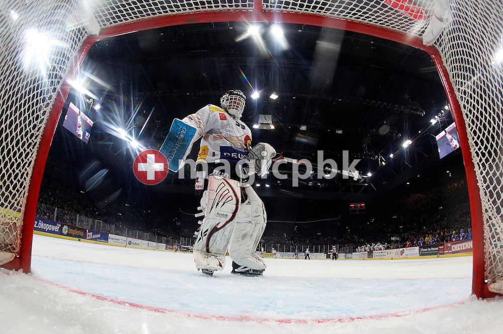 SC Bern goaltender Marco Buehrer is pictured during ice hockey game four of the Swiss National League A (Season 2011-2012) Playoff Final between ZSC Lions (ZSC) and SC Bern (SCB) held at the Hallenstadion in Zurich, Switzerland, Monday, April 9, 2012. (Photo by Patrick B. Kraemer / MAGICPBK)
