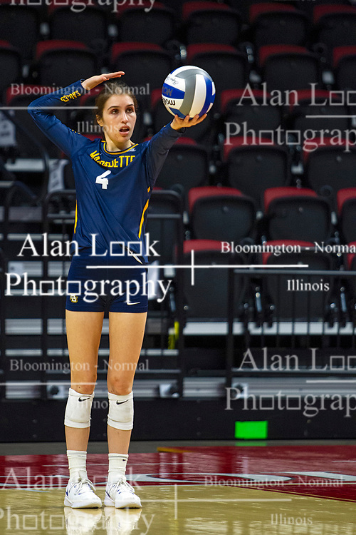 BLOOMINGTON, IL - September 15: Sarah Rose during a college Women's volleyball match between the ISU Redbirds and the Marquette Golden Eagles on September 15 2019 at Illinois State University in Normal, IL. (Photo by Alan Look)