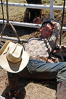 Bull rider Brady Williams from Snelling, California, in a contemplative mood before his afternoon chance at glory in the 102nd California Rodeo Salinas, which opened July 19 for a four-day run.