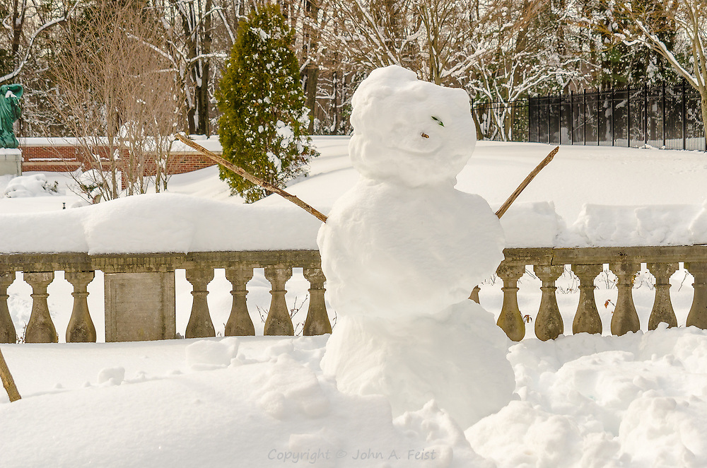I was on a retreat at Loyola in Morristown, NJ after the big storms in early 2011. This snowman was smiling at all on the back terrace of the retreat house.