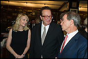 VICKY WARD; MAURICE SAATCHI; ROBBIE RAYNES; ; Book party for 'The Liar's Ball' by Vicky Ward hosted by  Sir Evelyn  de Rothschild at Henry Sotheran's, 2 Sackville Street London. 25 November 2014